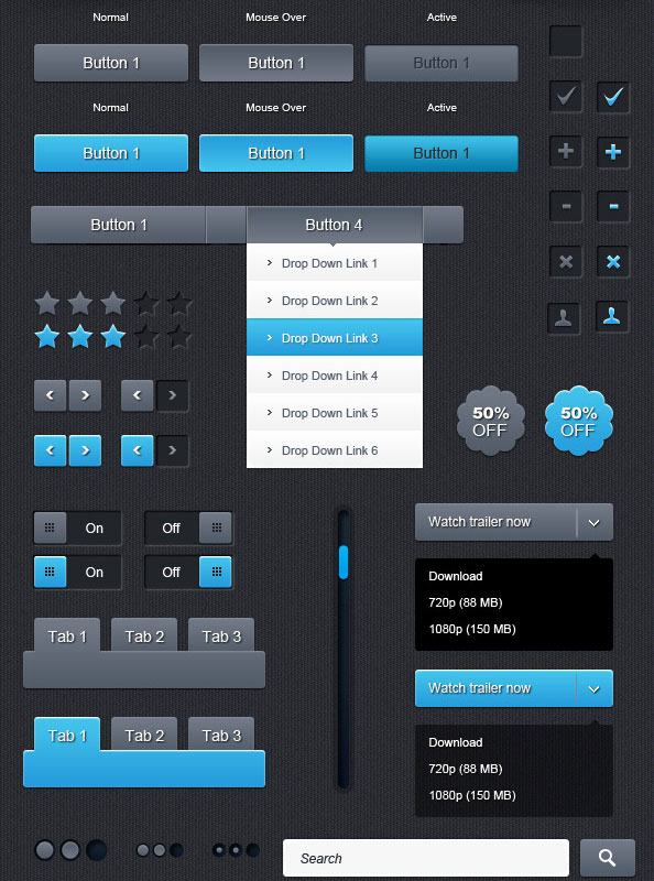 20 Useful Set of Free Web Element PSD 17