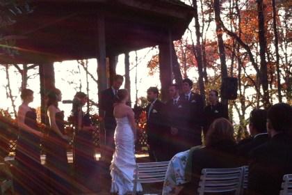 Megan & Raymond's wedding ceremony in the woods at Meadowlark Botanical Gardens