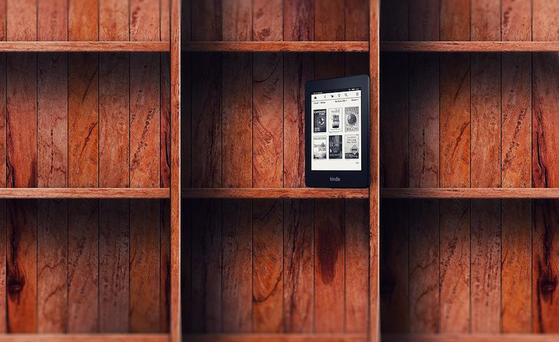 empty bookshelf kindle e-reader