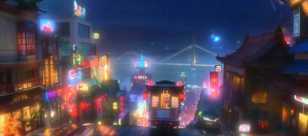 san fransokyo night scene from Big Hero Six