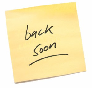 be back soon note