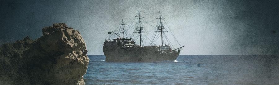 pirate ship off coast