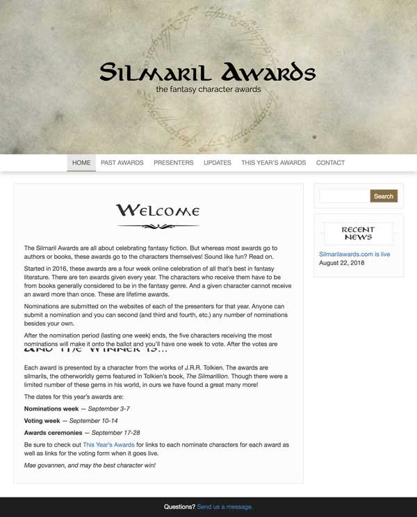 silmaril awards web page
