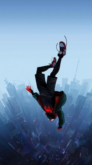 into the spiderverse miles morales falling