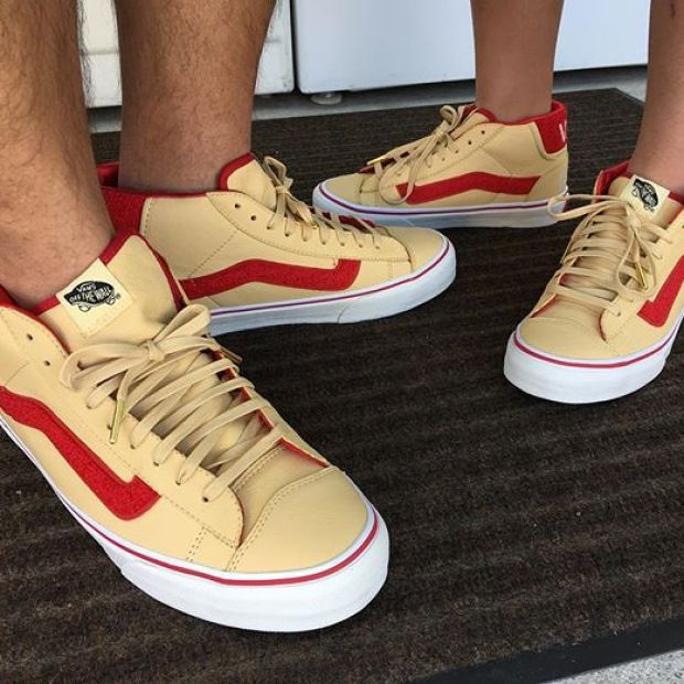 """Day 25 of @tintin7117  and I's #31daysofvans.  Went with one of the dopest collabs so far, for this year, the Vault by Vans x @soleclassics """"Lucky 13"""" Mid Skool '77 LX.  The shoe was done so well, and the SC guys came out to SoCal and had a month long pop-up that included the release for this shoe.  The varsity letterman's jacket theme complete with chenille patch, satin lining, and chain stitching in the ankle piece are all testaments to the level of detail our friends from Ohio continually add to their Vans collabs. I couldn't pass up getting these for my Tintin as well.  #soleclassics #lucky13 #ohio #underthepalms #strictlywaffles #vansvault #vaultbyvans"""