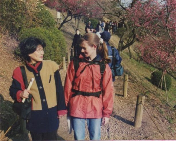 "Enjoying the plum blossoms with Oka-san, my ""Japanese mother"""
