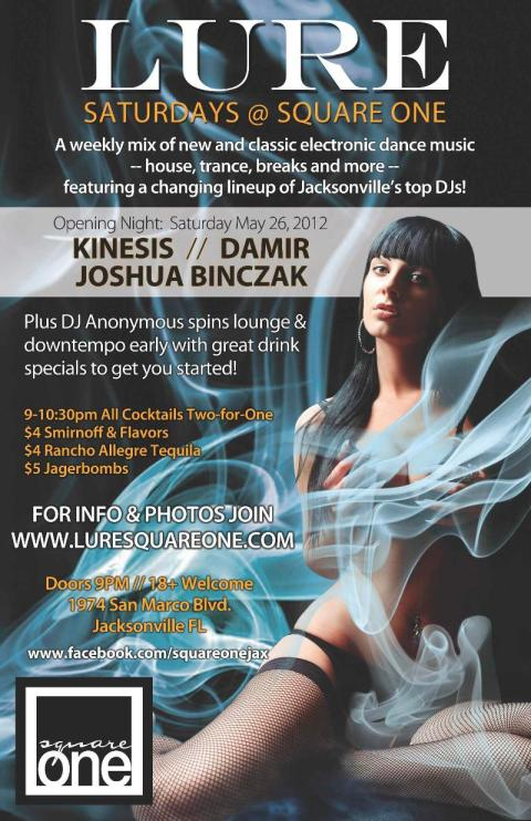DJ Kinesis Live at Square One (Square 1) Lure - Saturday, May 26th 2012