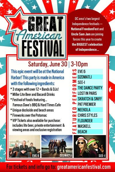 Great American Festival Washington DC Lineup with Eve 6 Maskell Neekola Pat Premier Flounder Chris Styles