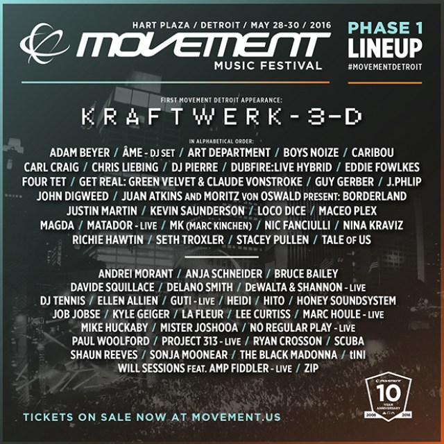Line Up DJs, MOVEMENT DETROIT - EUA
