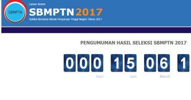 Pengumuman SBMPTN 2017 dan Penetapan Hasil Seleksi