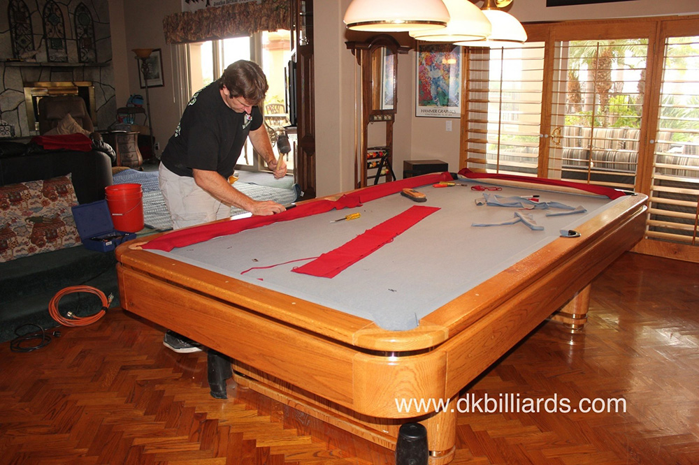 The New Burgundy Felt Looks Great And Gives This Old Tournament Sized Pool  Table Some Personality. The Deep Red Color Is Traditional, Yet Bold.