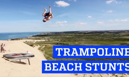 Trampoline stunts at the Beach! | People are Awesome