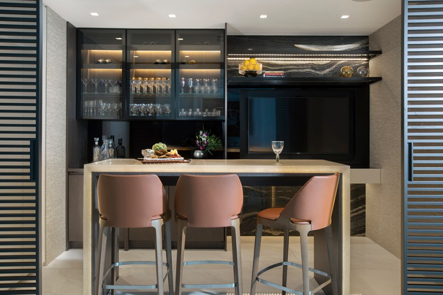 Modern Home Bar Design in Luxury Sunny Isles Condo