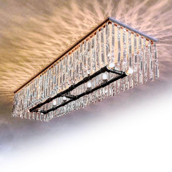 lawrence crystal linear flush mount chandelier pendant light