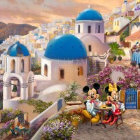 NEW! Thomas Kinkade Studios Disney Art Release featuring Mickey and Minnie in Greece