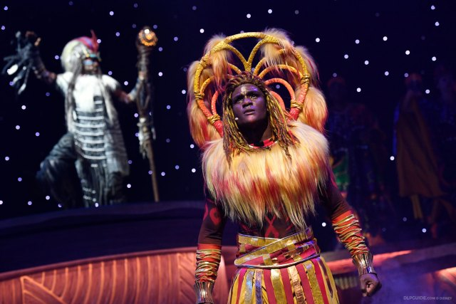 Rafiki and Simba in The Lion King: Rhythms of the Pride Lands musical stage show at Disneyland Paris
