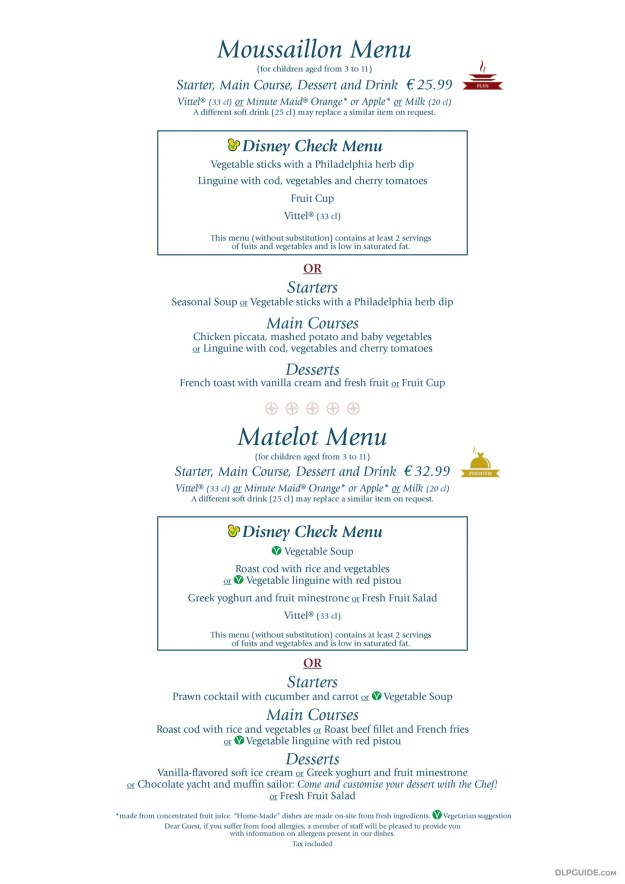 Yacht Club, Disney's Newport Bay Club menu
