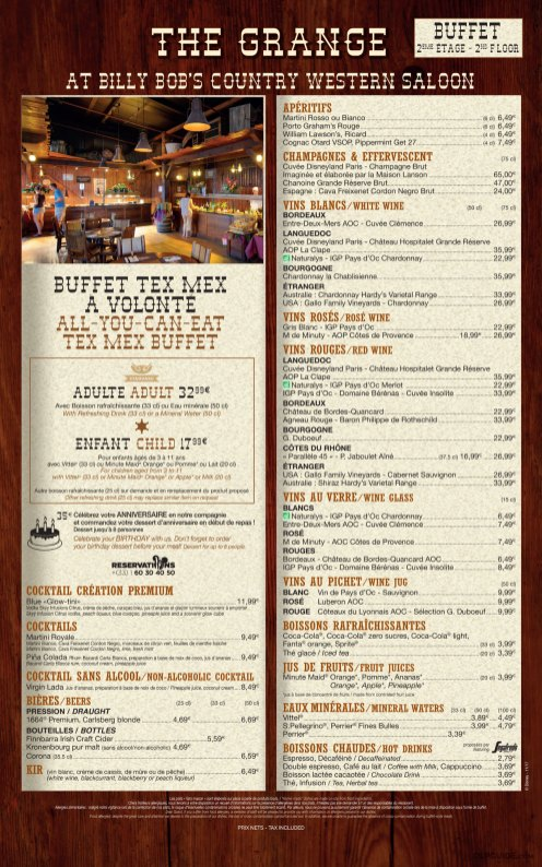 La Grange at Billy Bob's Country Western Saloon menu