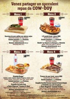 Cowboy Cookout Barbecue menu