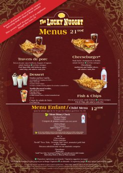 The Lucky Nugget Saloon menu