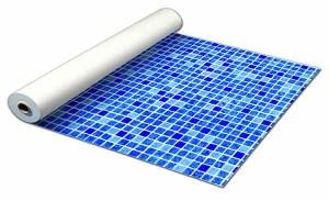 Detailbeeld rol folie perzisch blauw motief RENOLIT ALKORPLAN 3000