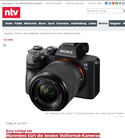 n-tv : Warentest kürt die besten Vollformat-Kameras