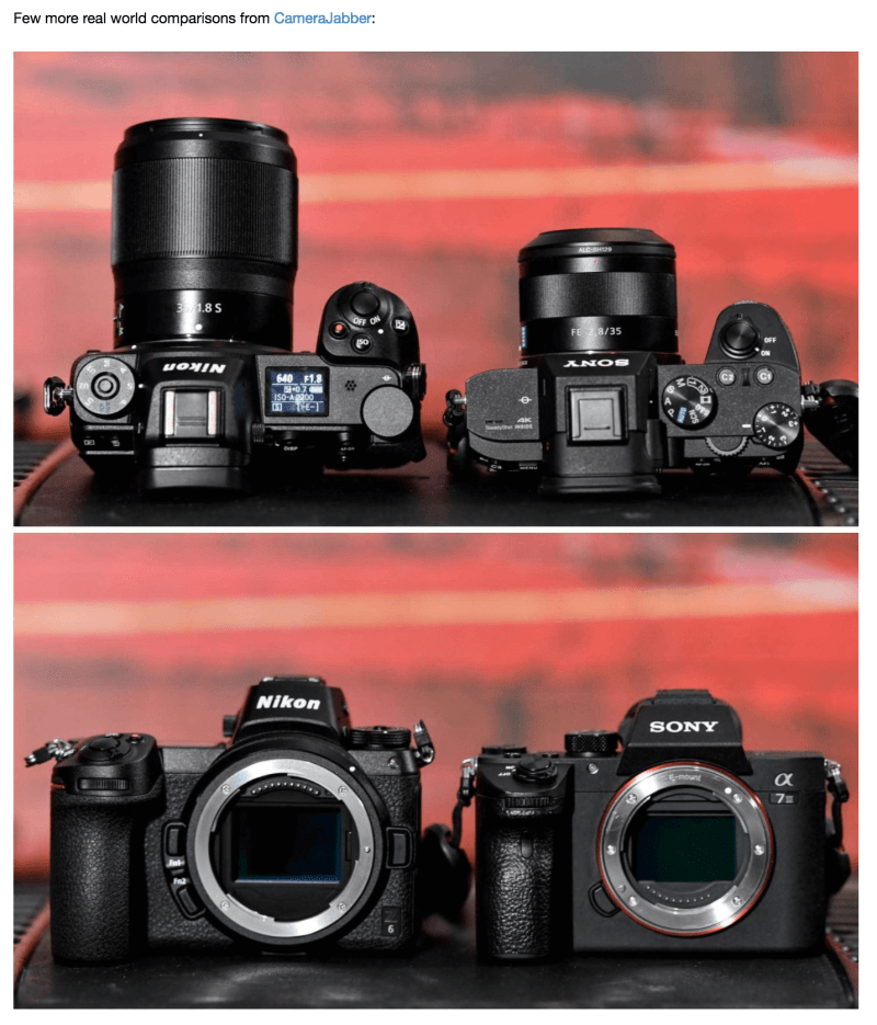 sonyalpharumors:Real Size comparison between the new Nikon Z7 and Sony A7 cameras