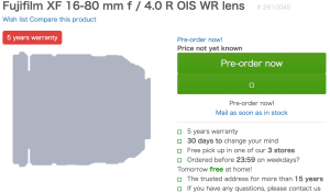 cameranu : Fujifilm XF 16-80 mm f / 4.0 R OIS WR