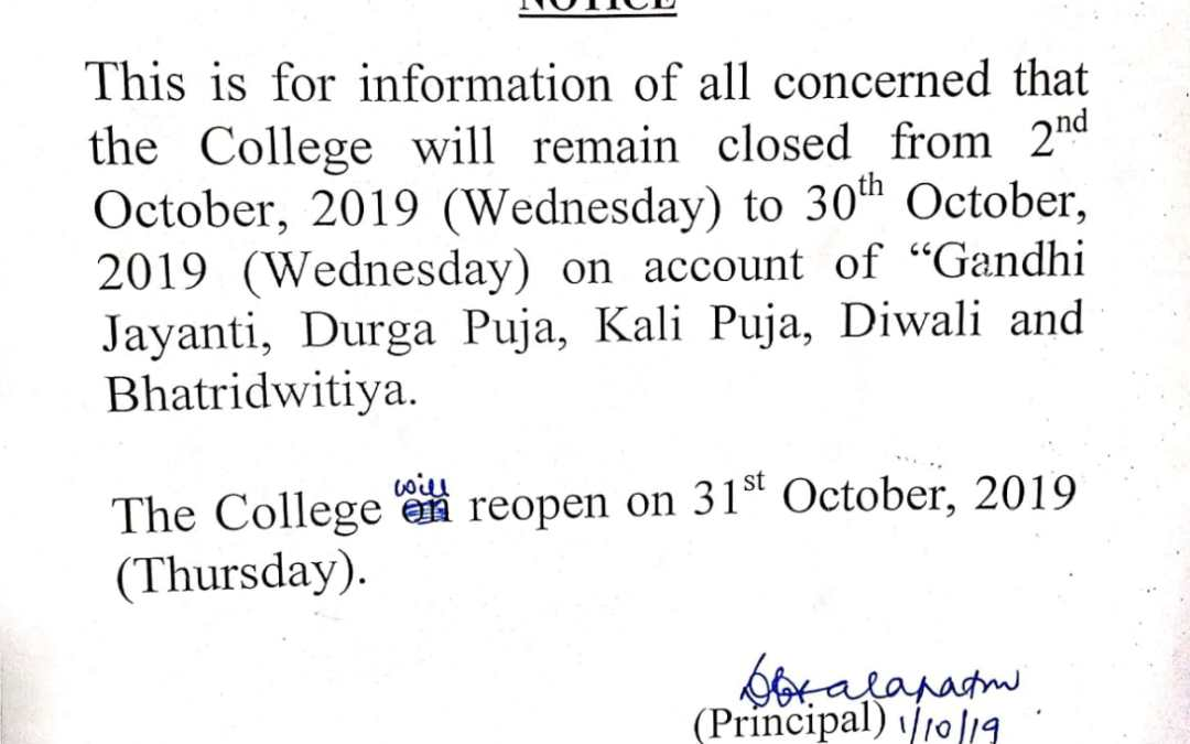 Notice for Puja Vacation