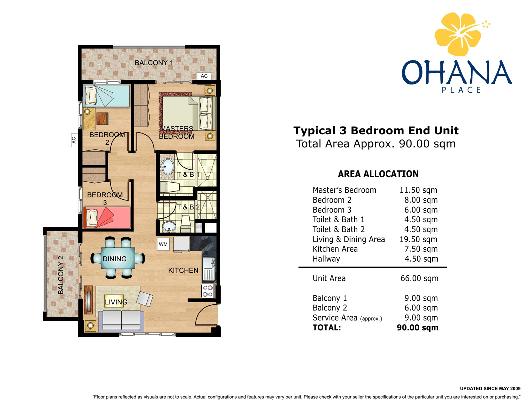OHANA 3 Bedroom Layout