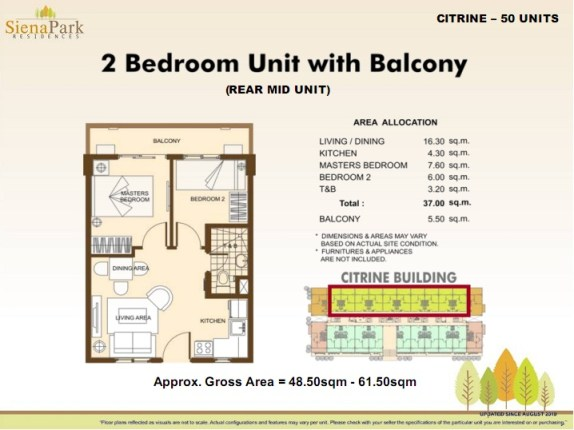 Siena 2 Bedroom Rear Mid Unit