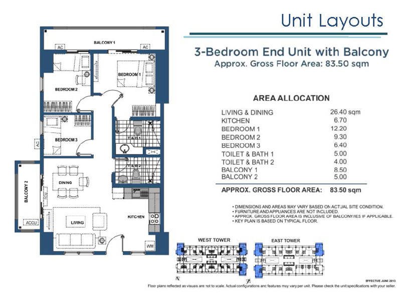 Lumiere Residences 3 Bedroom End Unit with Balcony