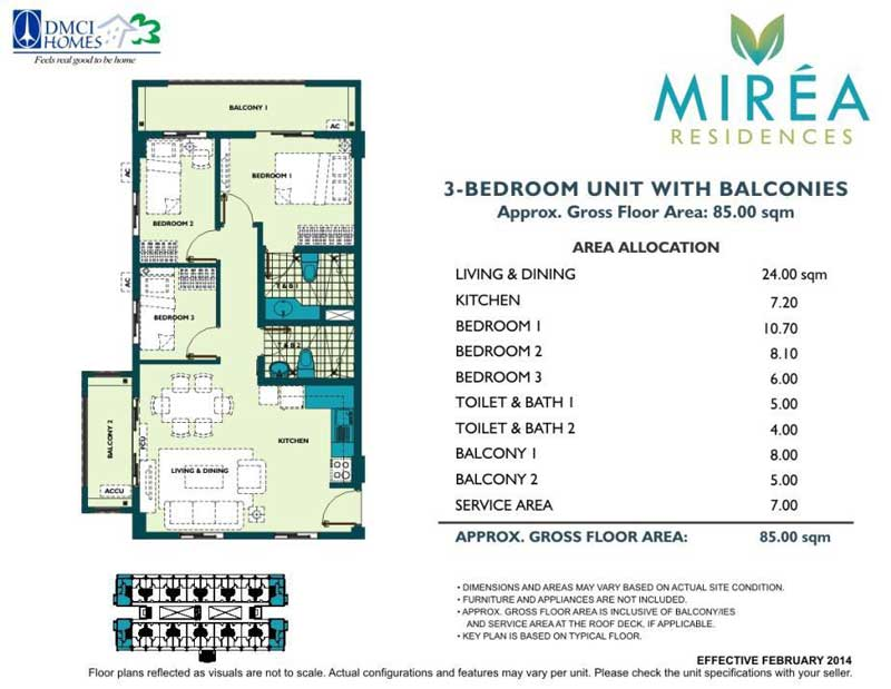 Mirea Residences 3 Bedroom 65 sqm