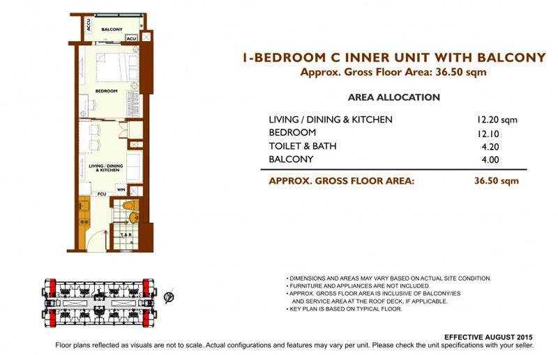 Fairway Terraces 1 Bedroom C Layout
