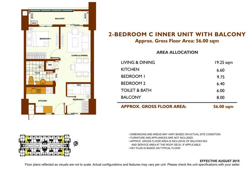 Fairway Terraces 2 Bedroom C Layout