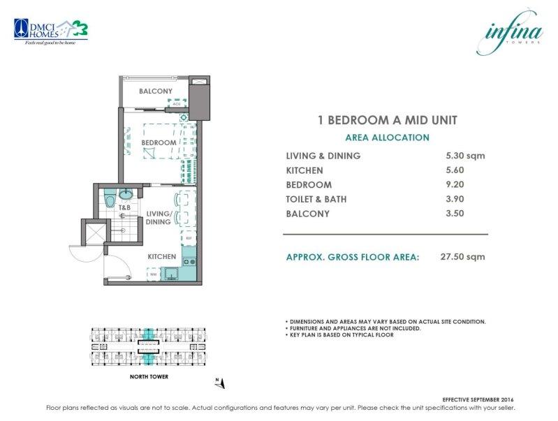 Infina Towers 1 Bedroom A (2.41M - 2.81M)