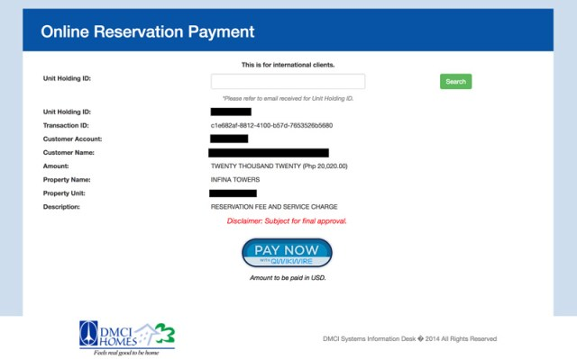 DMCI Online Availability Holding and Reservation
