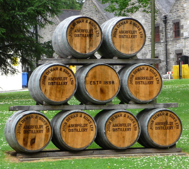 barrels of whisky from aberfeldy distillery