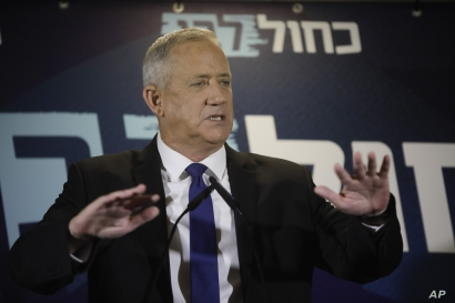 Blue and White party leader Benny Gantz delivers a statement in Tel Aviv, Israel, Sept. 19, 2019.