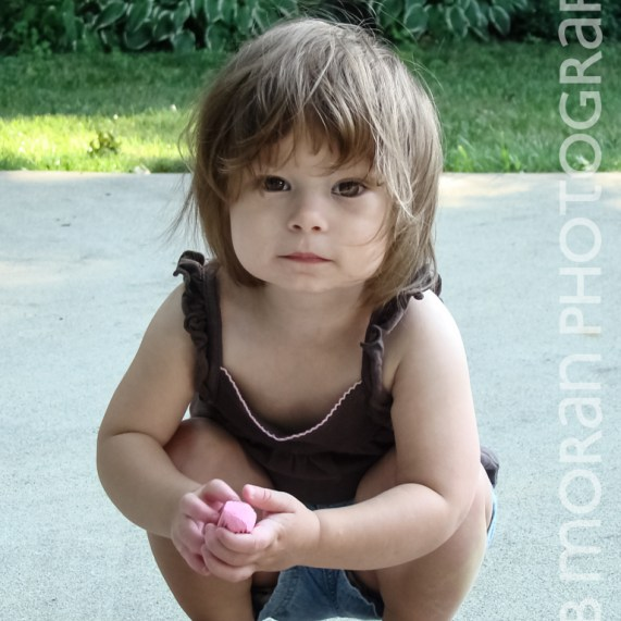 Toddler with chalk