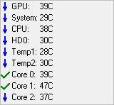 Speedfan бағдарламасындағы температура сенсорының индикаторлары