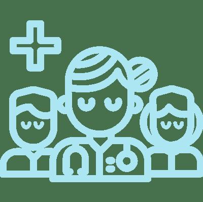 pictogramme de plusieurs médecins
