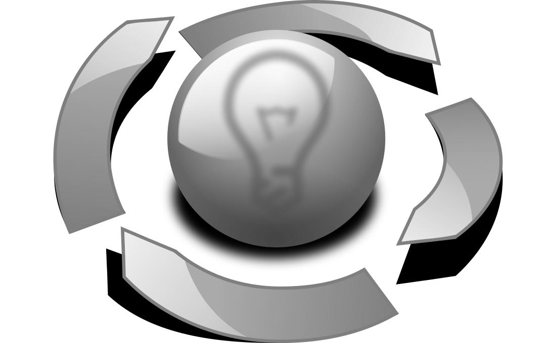 Un ciclo que envuelve a una esfera con el dibujo de una bombilla.