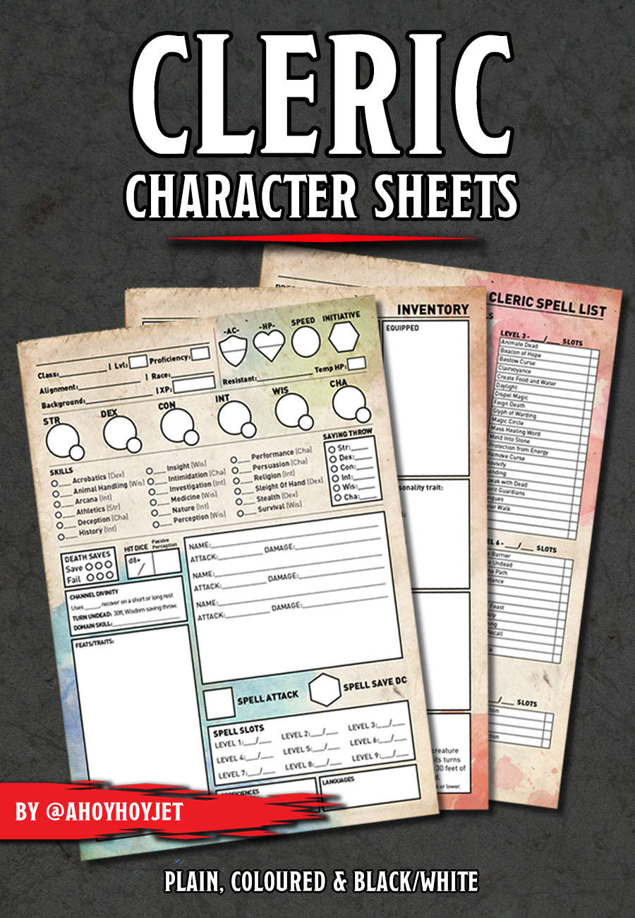 Cleric Character Sheets Dungeon Masters Guild Dungeon