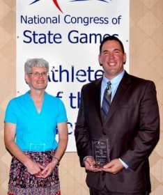 National Congress of State Games' female athlete of the year Cindy Hauber of Iowa and male athlete of the year Dave Sutko from Lincoln, NE.