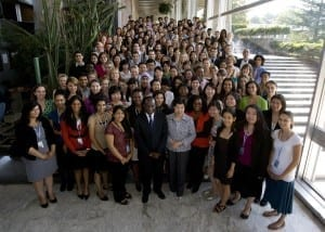 D.O. student Jenell with the other World Health Org. interns meeting WHO Director General Chan.