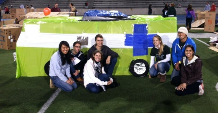 This cardboard version of DMU's Mobile Clinic featured an examination table and waiting room, earning an honorable mention at Des Moines' Reggie's Sleepout.