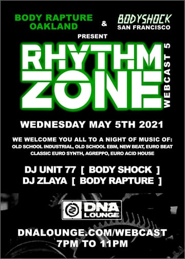 Rhythm Zone: Party-in-Place Webcast Flyer