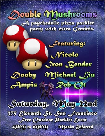 Double Mushrooms: Parklet Party Flyer