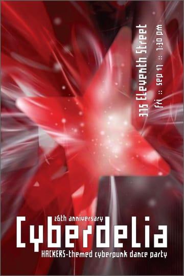 Cyberdelia: Hackers Screening + Cyberpunk Dance Party Flyer